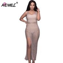 Adewel сексуальные видеть сквозь вязаный крючком длинный Для женщин ночной клуб платье Разделение с открытой спиной макси платье Bodycon праздничная одежда