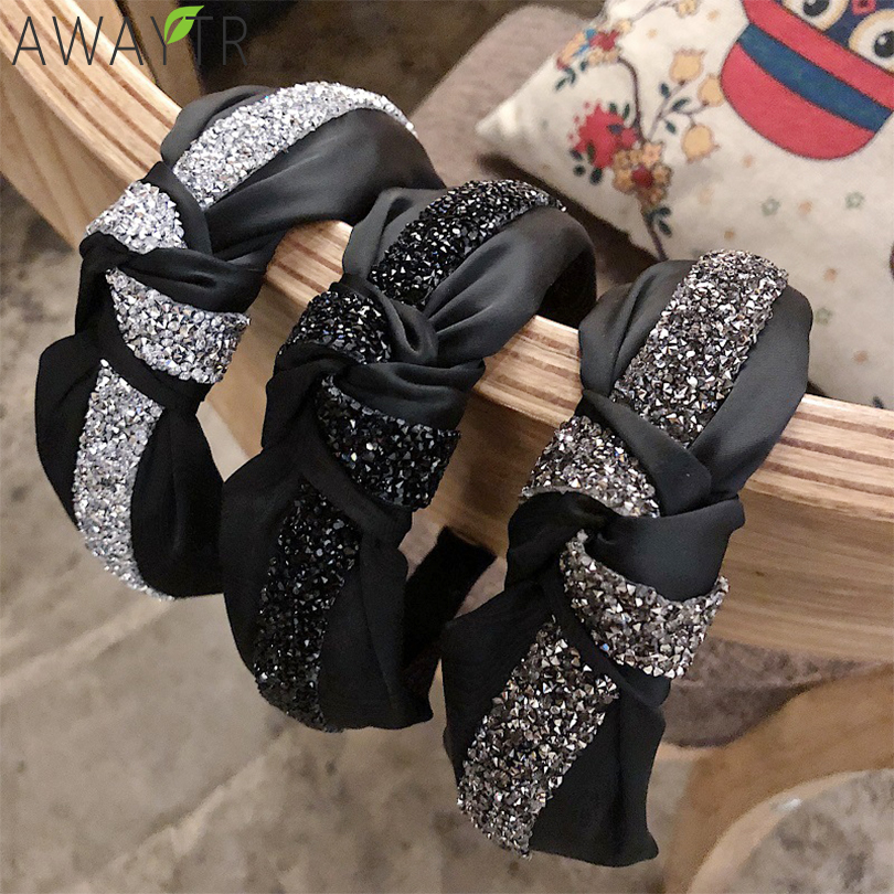 Women Hairbands Knotted Headbands Crystal Rhinestone Wide Hair Bands  Girls Vintage Twisted Tie Headwear For Hair Accessories
