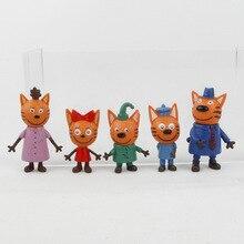 5 pçs/lote Gatinhos Russa Feliz Três Gatinho Action Figure Toy Animais Dos Desenhos Animados Modelo Gato Boneca de Brinquedo Para O Miúdo Presente de Natal Das Crianças