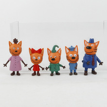 5pcs/lot Kittens Russian Happy Three Kitten Action Figure Toy Animals Cartoon Cat Model Doll Toy For Kid Children Christmas Gift