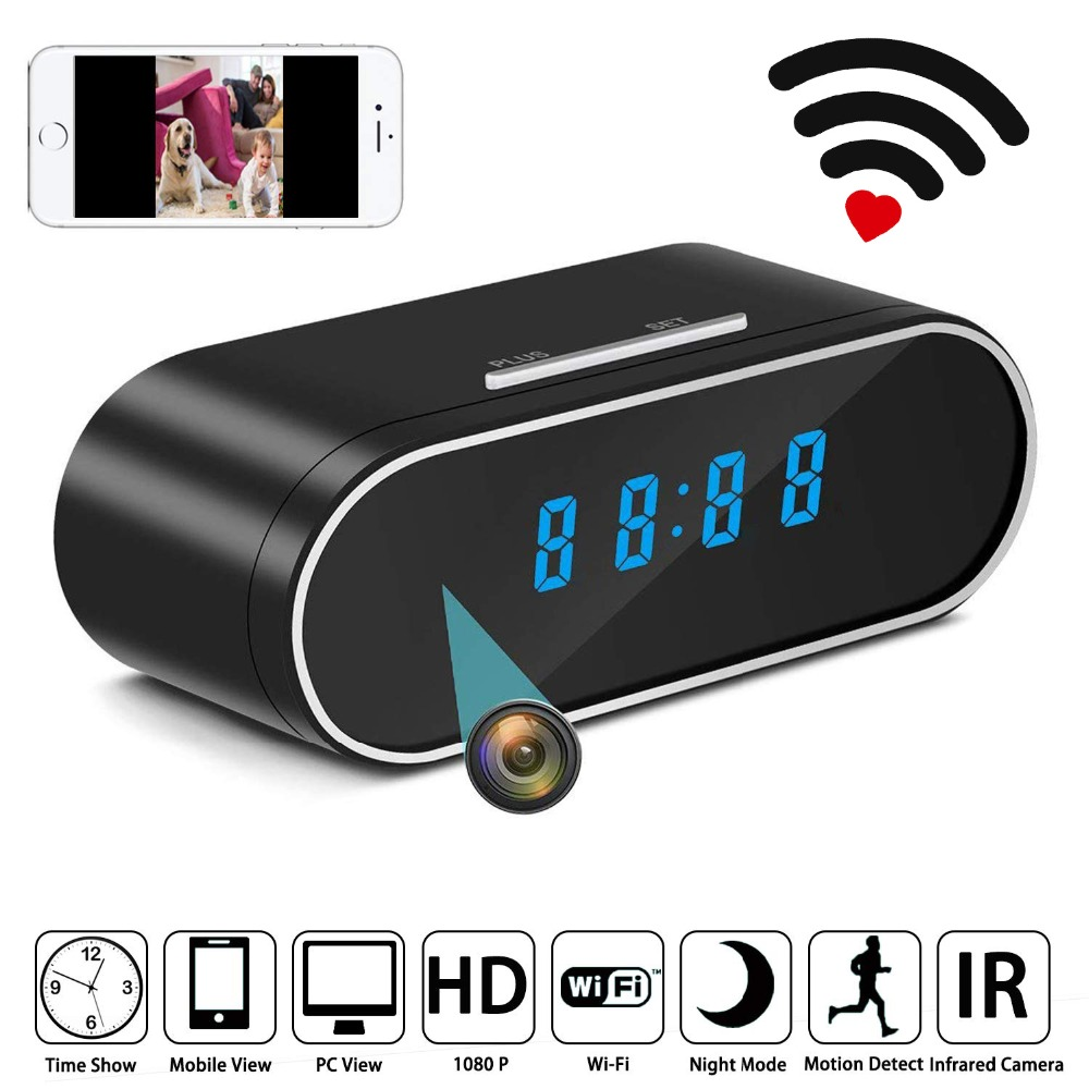 WiFi Table Clock Mini Camera 1080P HD IP P2P DVR Camcorder Alarm Set Night Vision Motion Sensor Remote Monitor Micro Cam