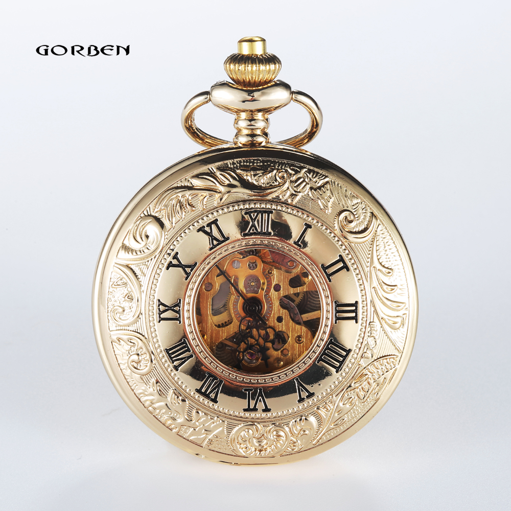 2016 Vintage Hollow Carving Analog Steampunk Mechanical Half Hunter Watch Roman Num Waist Chain 2 Sides Mens Pocket Watches P409