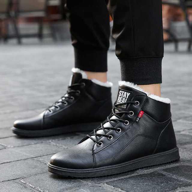 fashion winter boots men shoes warm fur snow boots pu leather winter work shoes men ankle winter footwear for men boots 2018