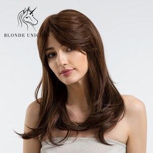 Loira unicórnio elegante 22 Polegada peruca de cabelo longo natural onda cabelo com lado bang marrom escuro 30% cabelo humano peruca respirável para mulher