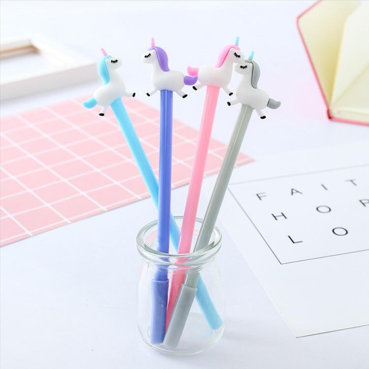 40 pçs criativo papelaria bonito decolagem cavalo estilo dos desenhos animados pequeno fresco neutro caneta escrita seringa completa preto assinatura caneta