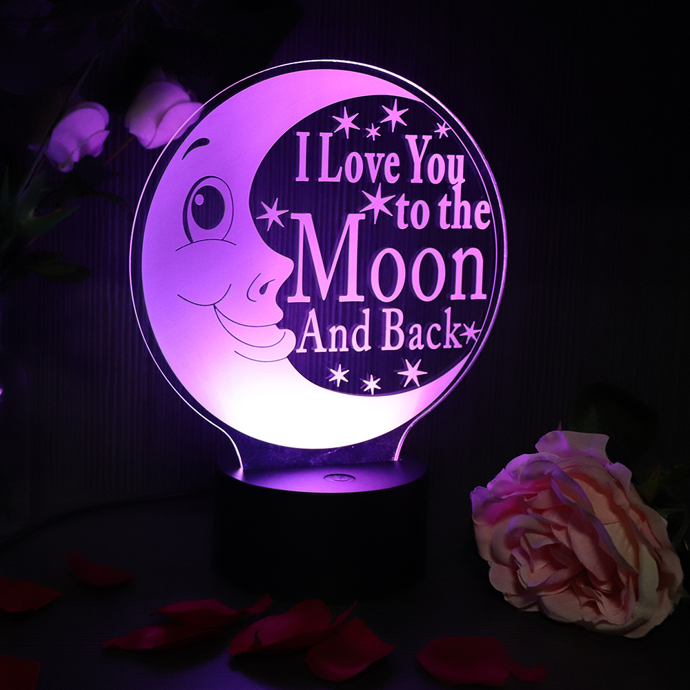 BORUiT New 3D Moon Light LED Night Light 7 Color Table Lamp for Bedroom Bedside Home Decorations Birthday Xmas Gifts