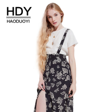 HDY Haodyoyi Print Chiffon Vintage Elegant Braces Asymmetrical Empire Comfortable  Light High-Looking Contracted Dress