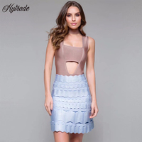 Dropship 2018 Arrivals China Online Boutique Hollow Out A Line Bondage Skirts Baby Blue Mini My Bandage Skirt and Crop Top