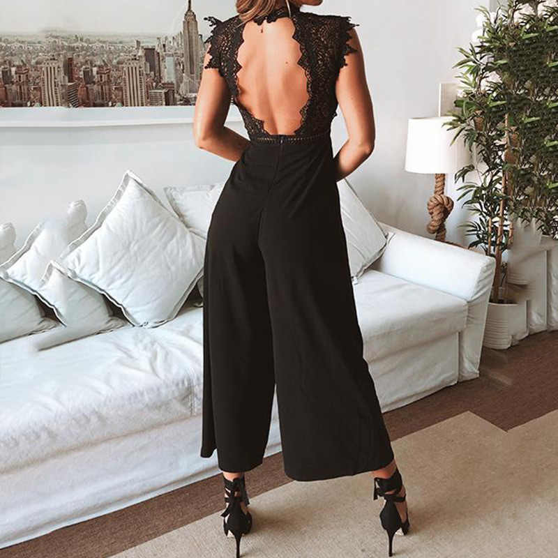 섹시한 민소매 Backless Ruffled Jumpsuit 여성을위한 우아한 Hollow Out Womens Long Jumpsuits 2020 Autumn Romper Casual Overalls
