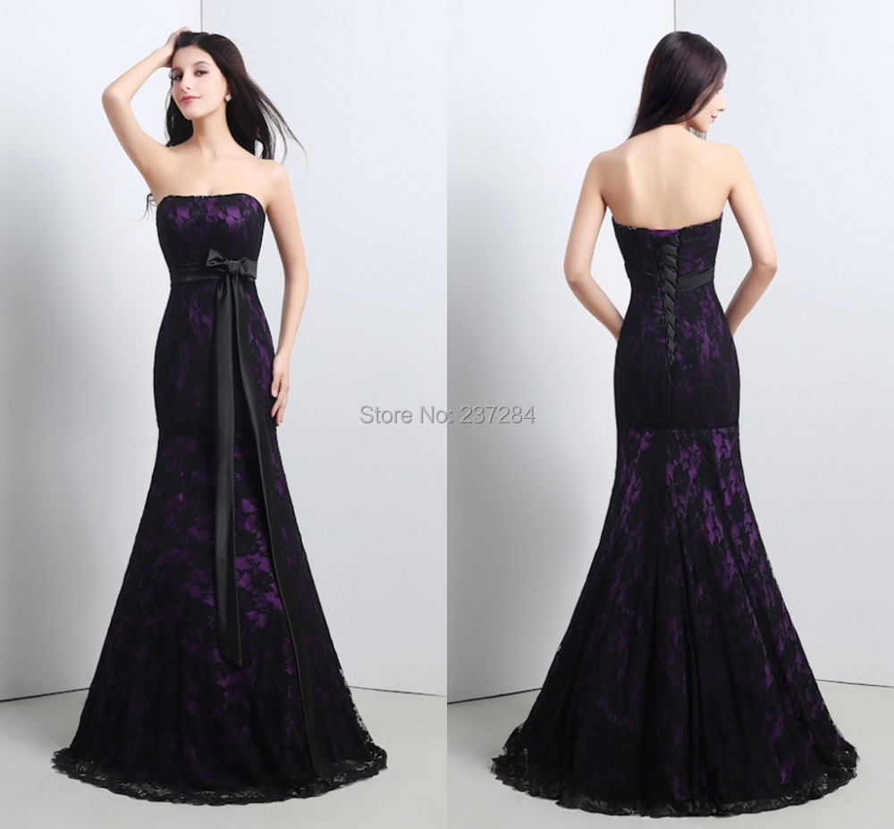 Buy black lace mermaid evening dress 2016 for Lace up back wedding dresses