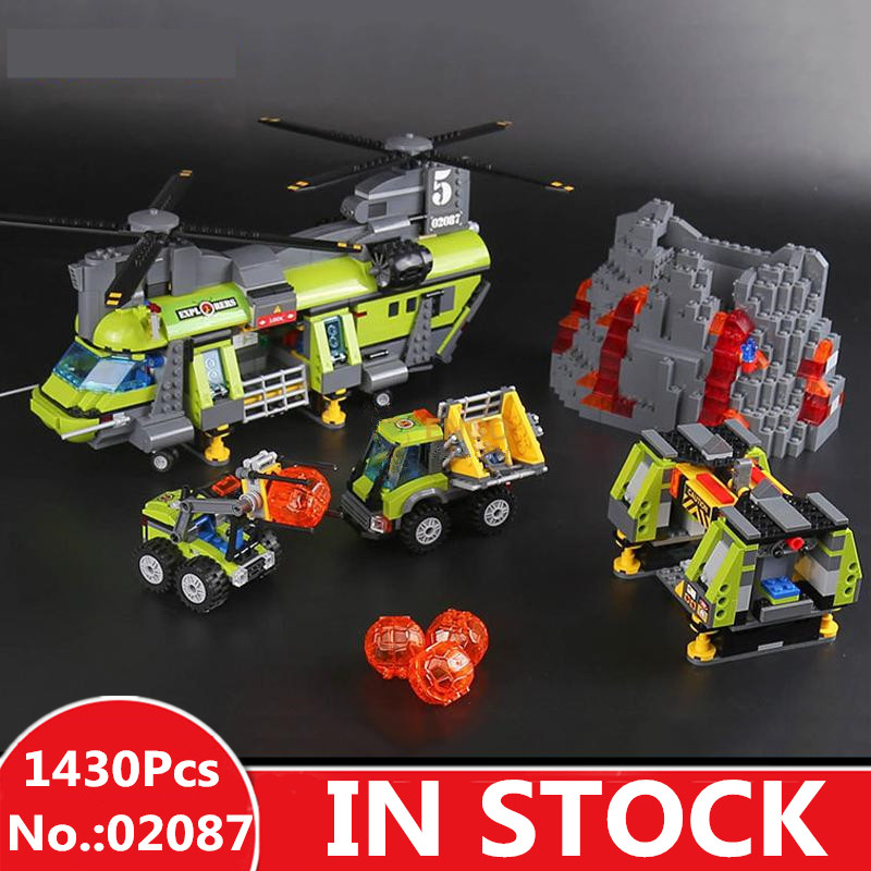 H&HXY 02087 1430Pcs City Series The Volcano Heavy-Lift Helicopter Set 60125 Building Blocks Bricks New Year DIY Gifts for boys hot city volcano heavy lift helicopter building block transporter truck forklift expedition figures bricks 60125 toys for gifts