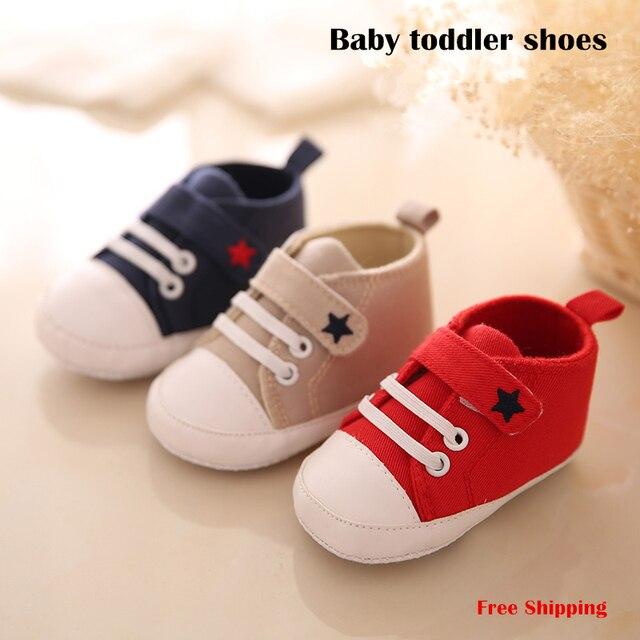 Детские мягкие ботинки холст скольжению подошва обуви мужской 3-6-9 малышей обувь осень 1