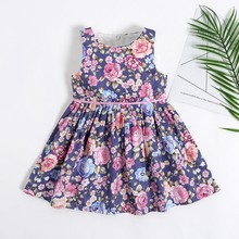 My little one 2019 summer Sleeveless Vintage Floral big girl dress 1-16 years old(China)