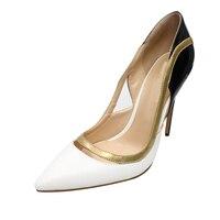 THEMOST Лидер продаж женские Лоскутные туфли на шпильках закрытым острым носком туфли лодочки большой Размеры