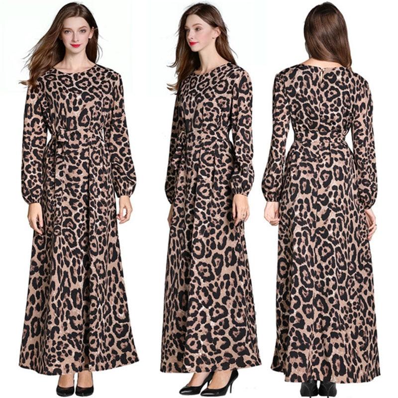 women Leopard print dress long sleeve chiffon party summer vintage Maxi