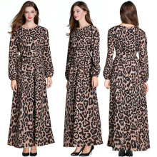 women Leopard print dress long sleeve chiffon party summer vintage Maxi