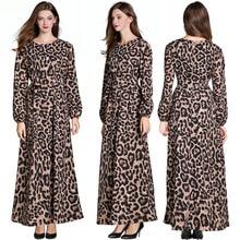 women Leopard print dress long sleeve chiffon party dress women summer vintage Maxi dress raglan sleeve chiffon maxi dress