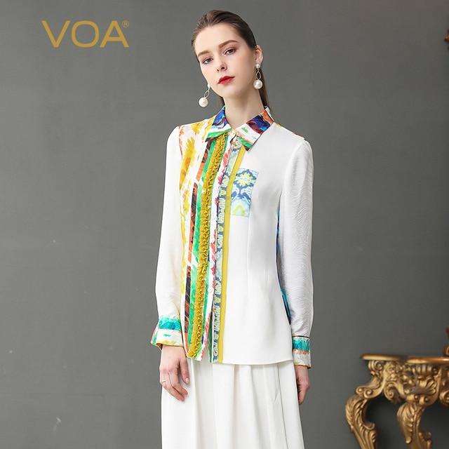 cb32b08f VOA White Shirt Women Tops Silk Blouse Office Plus Size 5XL Basic Formal  Print Ruffle Casual Spring Long Sleeve Casual B375