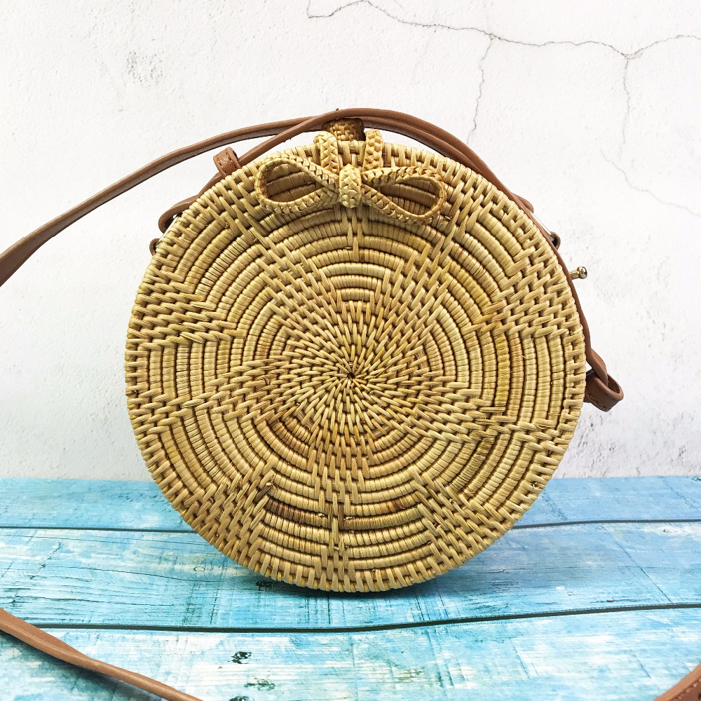 Vietnam rattan bag Summer Straw Bag Holiday Handbags Wicker Cross body Bags Bali Small Handmade Beach Bag for Women women bohemian straw bags ladies small beach weave handbag tote handmade summer wicker basket ribbons rattan holiday travel ins