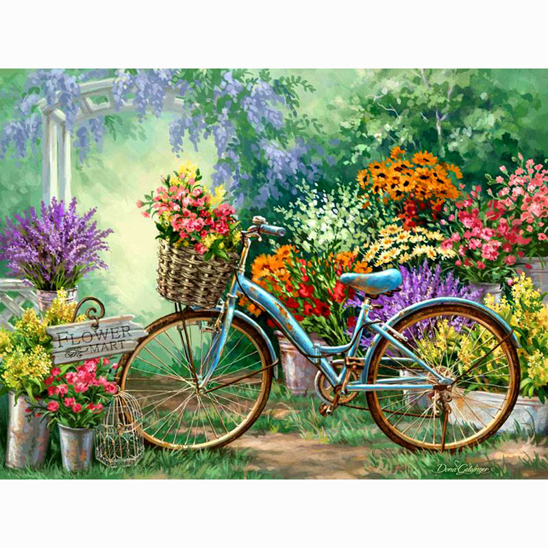 Enthusiastic Full Drill Diy Diamond Painting Cross Stitch Garden Bicycle Square Diamond Embroidery Patterns Rhinestones Mosaic Painting Ga072 Latest Technology Arts,crafts & Sewing