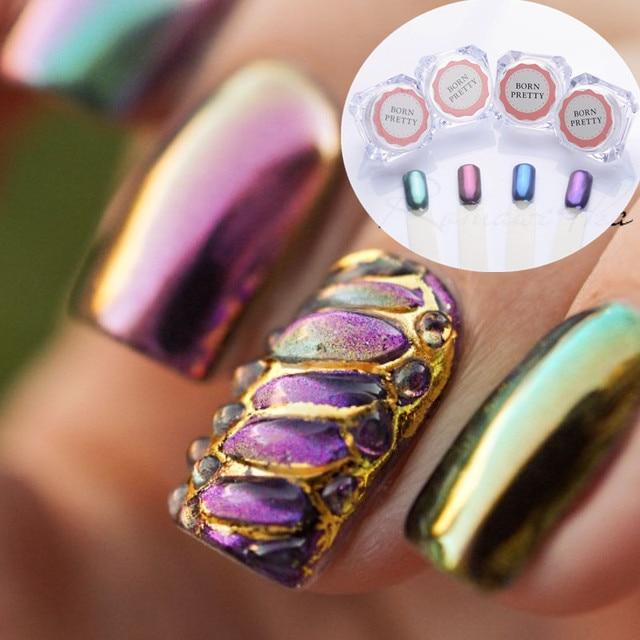 4pcs Shining Mirror Nail Glitter Powder Set Gorgeous Art Chrome Pigment Glitters 4 Colors