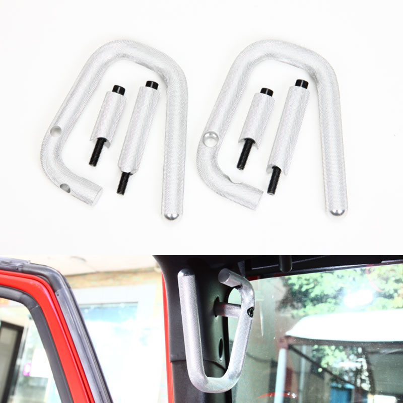Aluminium Silver 1Pair 2&4 Door Car Front Grab Handles Bar For Jeep Wrangler Rubicon JK 2007 2015 Car Styling Accessary