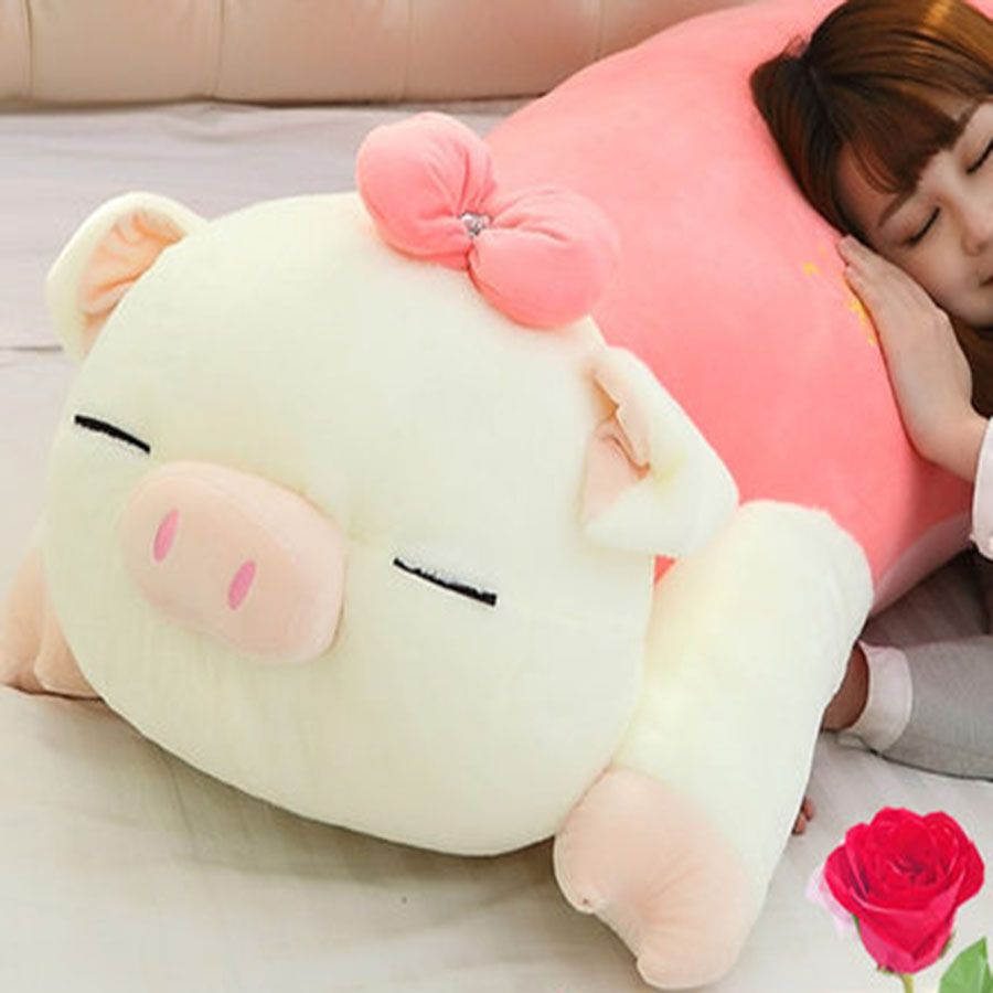 Plush Pig Pillow Cute Animal Soft Stuffed Plush Toys For Children Kawaii Pig Peluches De Animales For Kids Birthday Gift 70C0024 2018 huge giant plush bed kawaii bear pillow stuffed monkey frog toys frog peluche gigante peluches de animales gigantes 50t0424