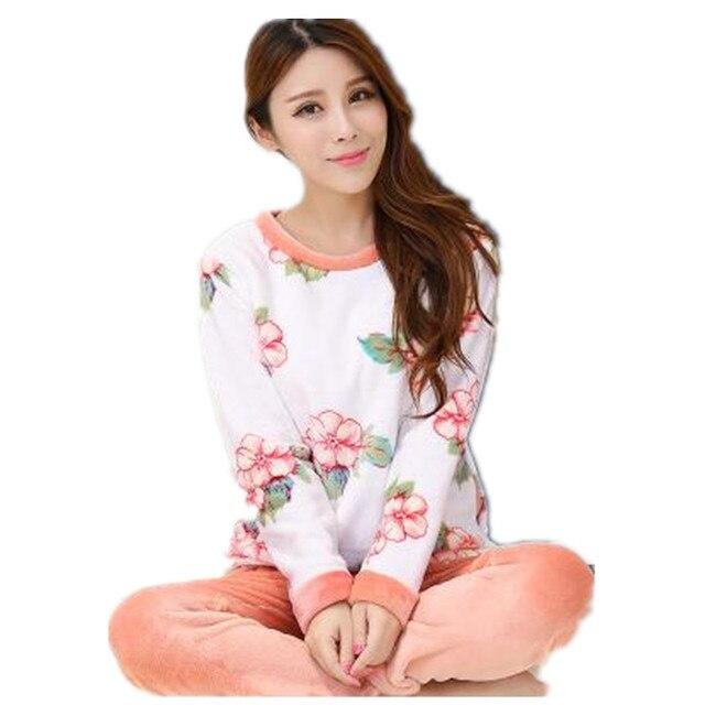 5f2feb9789 Nueva 2018 Otoño Invierno Para Mujer Pijama O-cuello de Manga Larga de Las  Mujeres