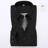 Hot Polka Dot Men Shirt 100 Cotton Business Dress Shirts Casual Brand Long Sleeve Male Slim