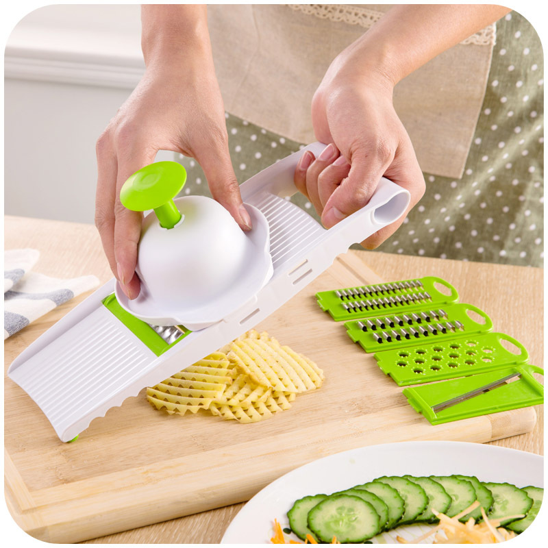 7 Pcs set Fruit Vegetable Cutter Slicer Grater With 5 Different Stainless Blades Kitchen Gadgets Cooking