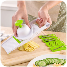 7 Pcs/set Fruit Vegetable Cutter Slicer Grater With 5 Different Stainless Blades Kitchen Gadgets Cooking Tools
