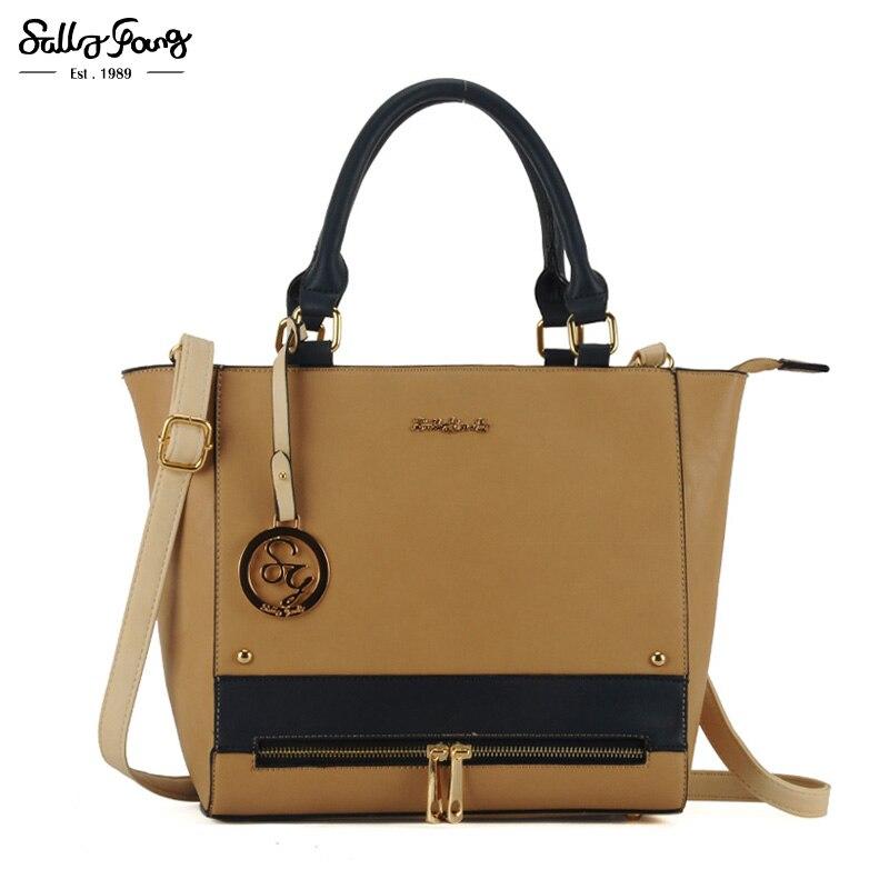ФОТО 2017 International Brand Patchwork Lady Shoulder Handbags Vintage Designer Zipper Decoration Women Bag