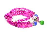 ナチュラルピンク瑪瑙シルバー仏108数珠マラブレスレットファッション気質ジュエリー宝石アクセサリーギフト卸売