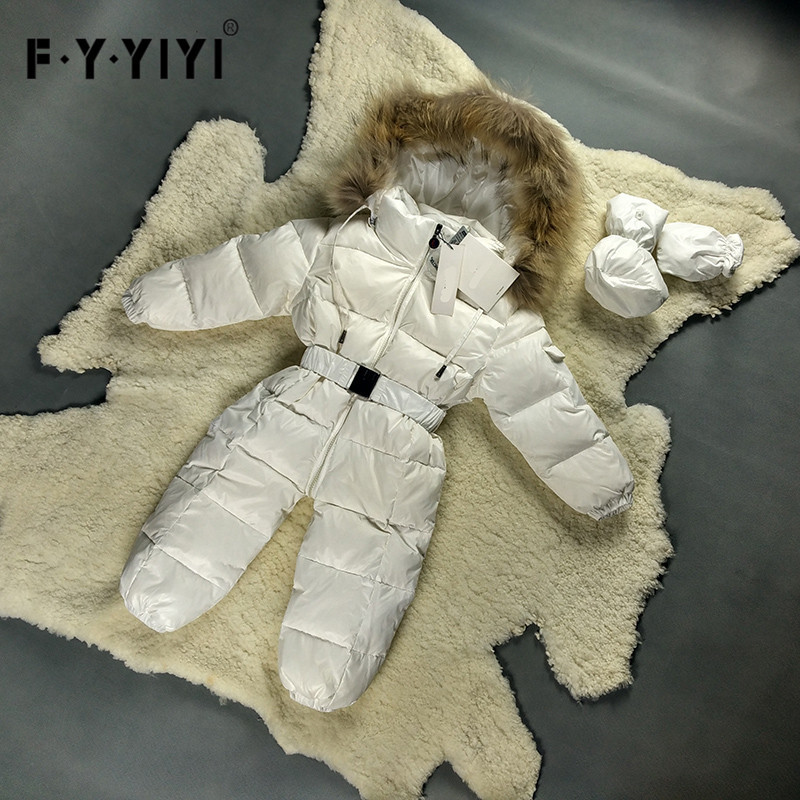 Angeltree Baby Boys Pink Romper Children Winter Warm Kids Girls Thick Clothes 100% White Overcoat Baby Boy Parka Infant Jackets