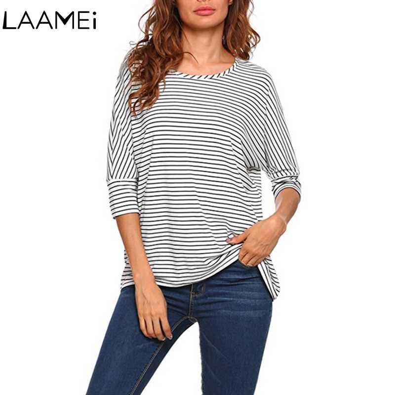 Laamei Long Sleeve Striped O Neck Tshirt Tops Feminino