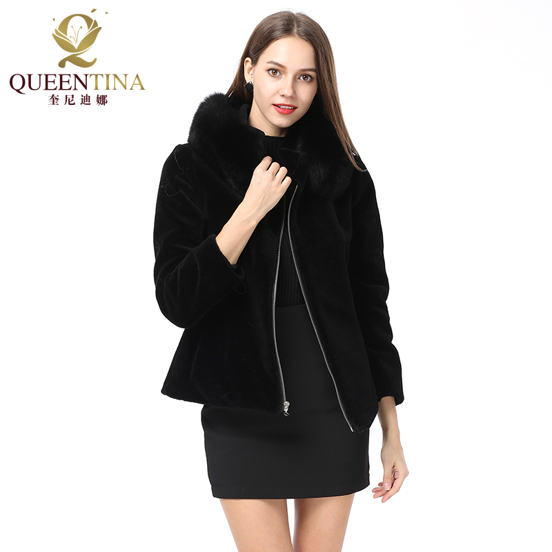 Women Real Fur Coat with Fox Fur Collar Sheep Shearing Fur Coat Winter Sheep Coat Jacket
