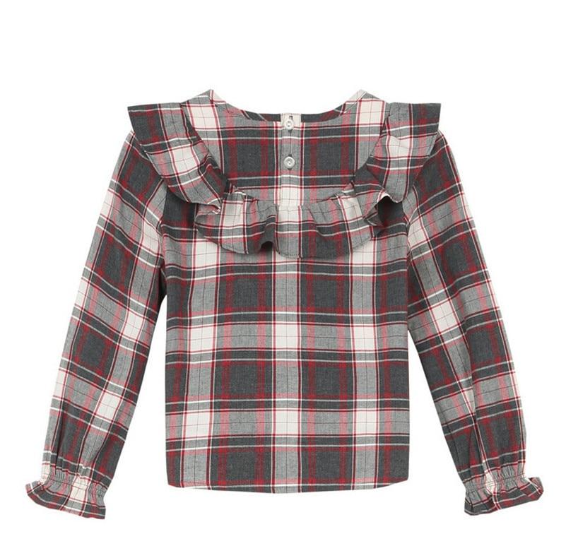 040753339a dzieci Bottoming Koszula Jesień Zima Duże Dziewczyny plaid Topy Dzieciak  Mody Bawełny Z Długim rękawem koszula Podstawowa szkoła dziewczyny outfit