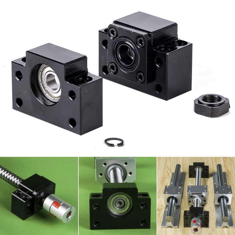 2pcs/Set BK12 BF12 Carbon Steel Ballscrew End Supports Bearing Blocks Mounts Base Mayitr Black Ball Screw Bearing Block Bracket fixmee performance bearing mounts high rigidity ff12 ball screw end support cnc