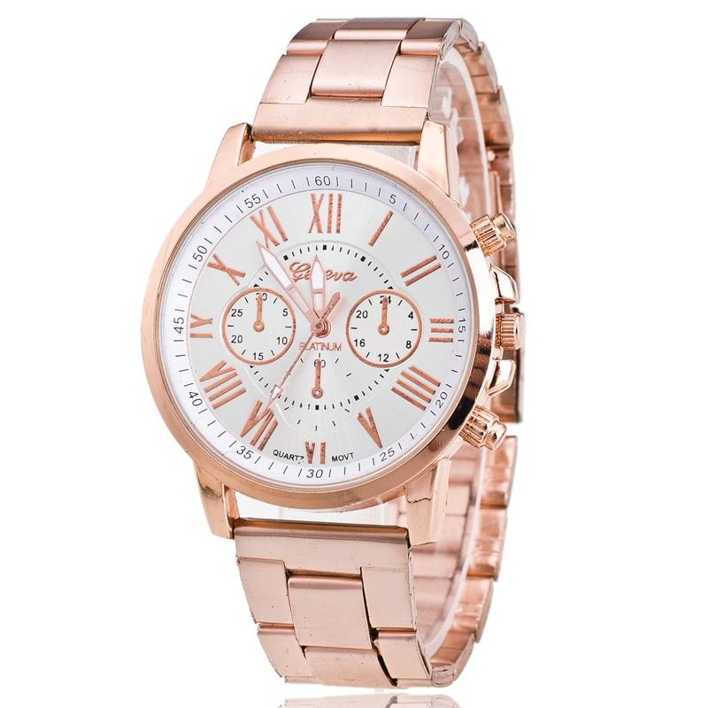 Luxury Brand Women Stainless Watch Men Fashion Geneva Quartz Watch Women Golden Steel Watch Casual Dress