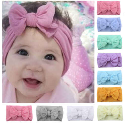 Newborn Infant Baby Girl Large Bow Cotton Headband Hairbands Headwear Hair Accessories