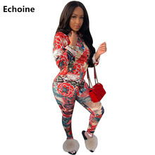 Women 2 Piece Set Floral Print Top and Pants Sexy Bodycon Pants Set Skinny Elegant Club Outfit Turn-down Collar Two Piece Set health massage cusgermanium mattress tourmaline jade anion thermal infrared electric heating physiotherapy health care stone mat