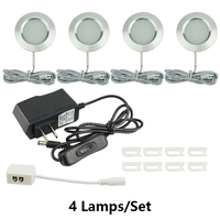 3W Cabinet Lights Suit LED Showcase Counter Under Cupboard Kitchen Lamps Round Aluminum Puck Spot Ceiling Light