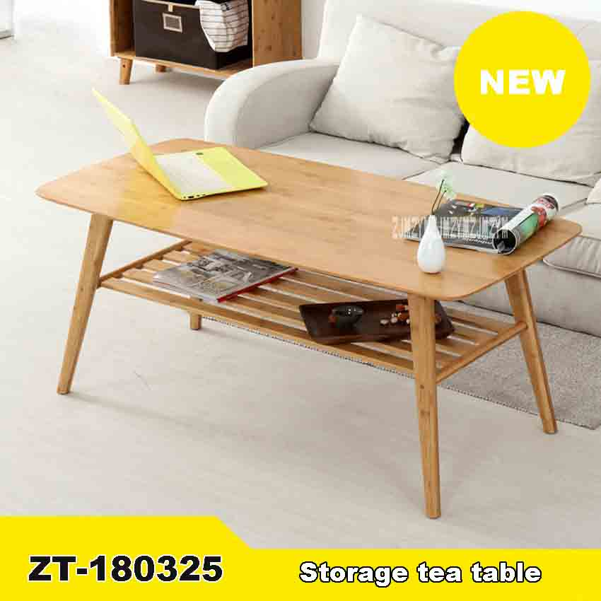 ZT-180325 Modern Indoor Sofa Side Coffee Table Furniture Living Room Rectangle Bamboo Storage Tea Table With Shelf (120*60*40cm)