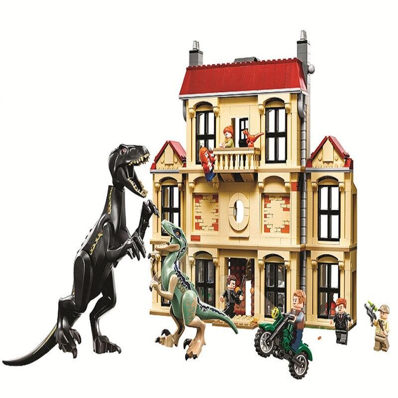 Jurassic Dinosaure Monde 2 Indoraptor Rampage Lockwood Succession Bâtiment Bloc De Noël Jouets Enfants Compatible Avec Legos 75930