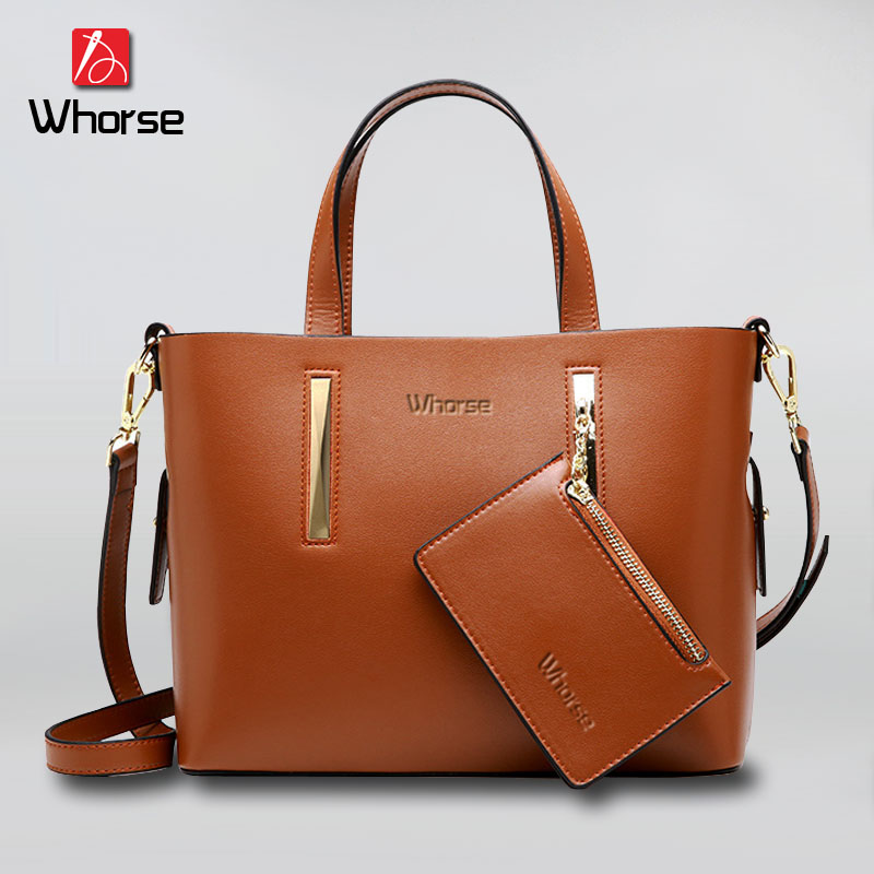[WHORSE] Brand Luxury Genuine Leather Womens Handbags Tote Bag Women Ladies Shoulder Messenger Bags Real Cowskin Handbag W0907 new luxury famous brand designer bag women shoulder handbag real genuine leather messenger bags handbags for ladies bolsa ly109