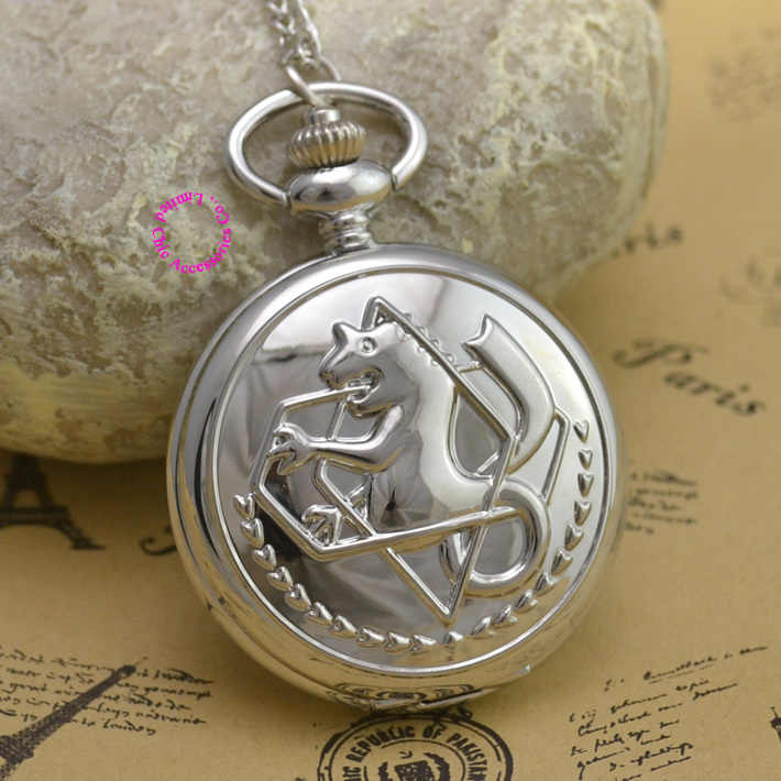 Fullmetal Alchemist Pocket Watch necklace women Cosplay Edward Elric with Chain Anime Boys Gift New Silver Tone lady fob watches