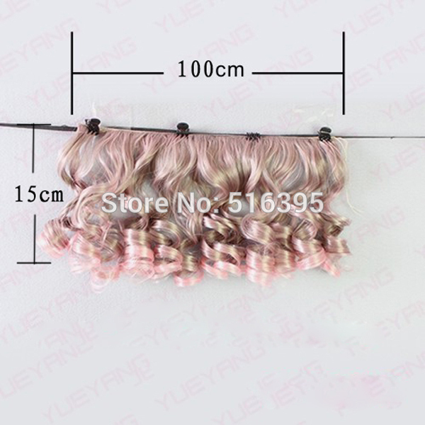 1pieces Extension doll wigs 15*100cm Natural Color Curly doll hair for BJD SD Russian handmade clothing doll wigs