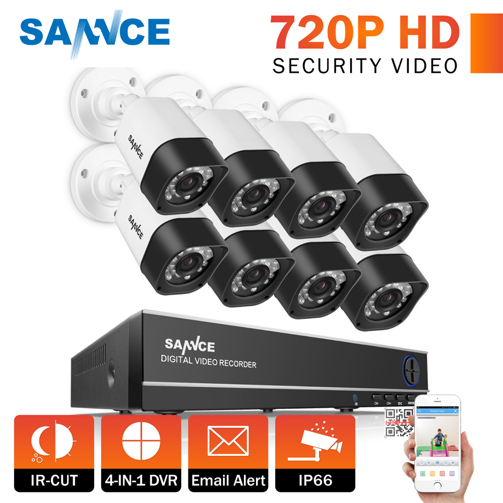 SANNCE 8CH 1080P Surveillance DVR Kit CCTV System 1TB HDD 720P Security Camera Waterproof IR Night Vison Home Security Camera home 8ch cctv security camera set day night 600tvl camera 8channel dvr kit 1tb hard drive color video surveillance system sk 059