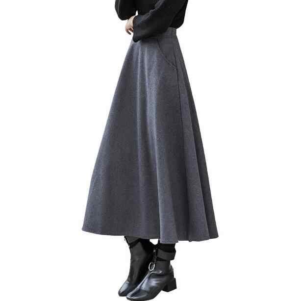Jesień zima ciepłe grube kobiety wełniana spódnica elastyczna wysoka talia spódnice linii spódnica z wełny spódnice kobiet długi duża huśtawka spódnica DF813