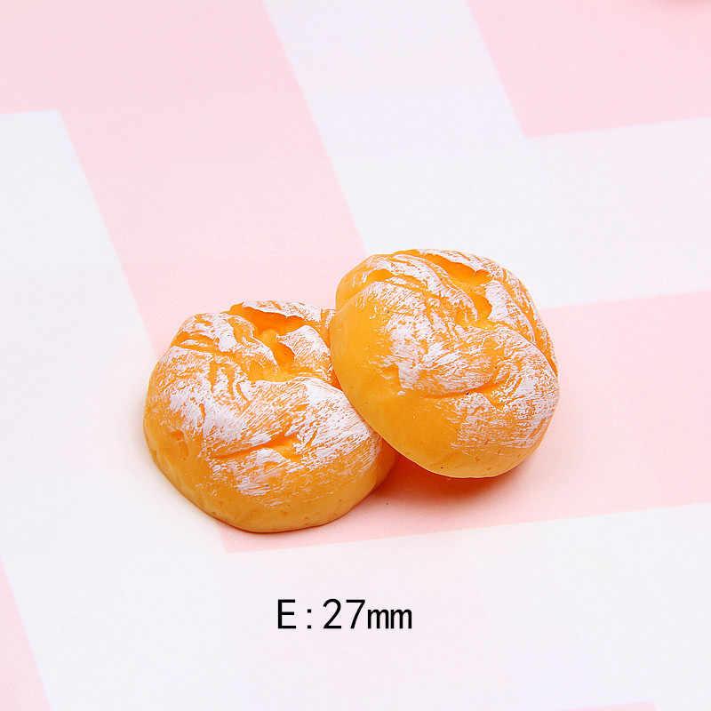 10 Uds tamaño grande resina galletas de pan comida de imitación FlatBack cabujón para decoración de teléfono muñecas adornos de AX Paris juguete Decoración